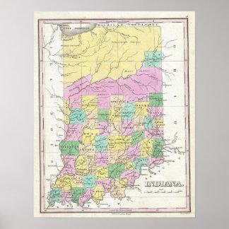 Mapa del vintage de Indiana (1827) Posters