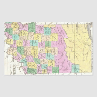 Mapa del vintage de Indiana (1827) Rectangular Pegatina