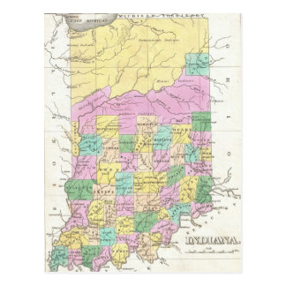 Mapa del vintage de Indiana (1827) Postal