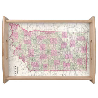 Mapa del vintage de Indiana (1864) Bandejas