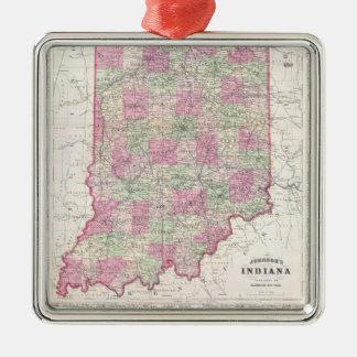 Mapa del vintage de Indiana (1864) Adorno Cuadrado Plateado