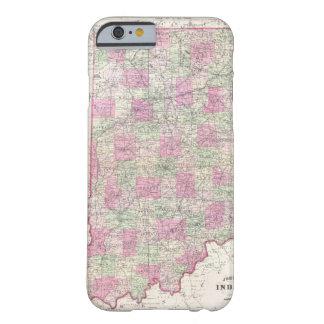 Mapa del vintage de Indiana (1864) Funda De iPhone 6 Barely There