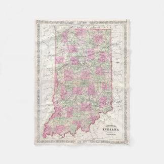 Mapa del vintage de Indiana (1864) Manta De Forro Polar