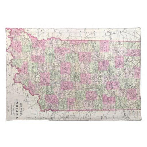Mapa del vintage de Indiana (1864) Manteles Individuales