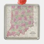 Mapa del vintage de Indiana (1864) Ornato
