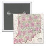 Mapa del vintage de Indiana (1864) Pin Cuadrada 5 Cm