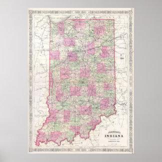 Mapa del vintage de Indiana (1864) Póster