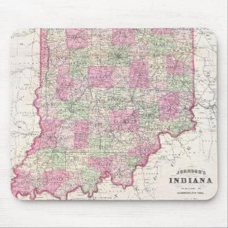 Mapa del vintage de Indiana (1864) Alfombrilla De Ratones