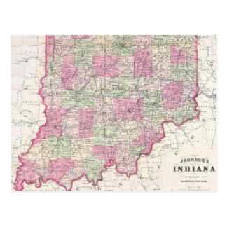 Mapa del vintage de Indiana (1864) Postal