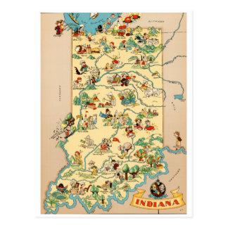 Mapa del vintage de Indiana Tarjetas Postales
