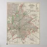 Mapa del vintage de Indianapolis Indiana (1921) Póster