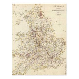 Mapa del vintage de Inglaterra (1837) Tarjeta Postal
