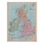Mapa del vintage de Inglaterra Tarjeta Postal