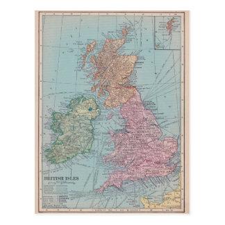 Mapa del vintage de Inglaterra Postales