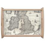 Mapa del vintage de Inglaterra y de Irlanda (1631) Bandejas
