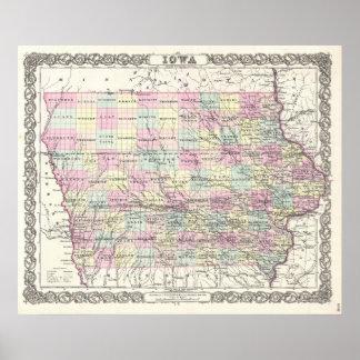 Mapa del vintage de Iowa (1855) Poster