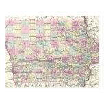 Mapa del vintage de Iowa (1855) Postales