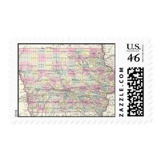 Mapa del vintage de Iowa 1855