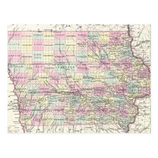 Mapa del vintage de Iowa (1855) Tarjetas Postales