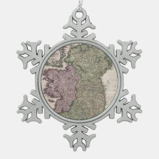 Mapa del vintage de Irlanda (1716) Adorno De Peltre En Forma De Copo De Nieve