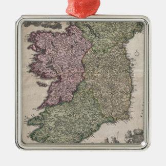 Mapa del vintage de Irlanda (1716) Adorno Navideño Cuadrado De Metal