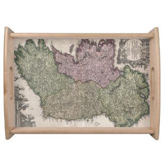 Mapa del vintage de Irlanda (1716) Bandejas