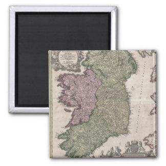 Mapa del vintage de Irlanda (1716) Imán Cuadrado
