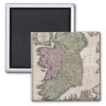 Mapa del vintage de Irlanda (1716) Imán De Nevera