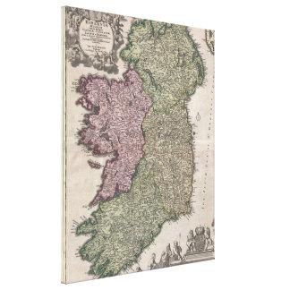 Mapa del vintage de Irlanda (1716) Impresión En Lona