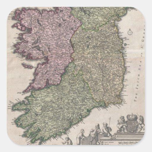 Mapa del vintage de Irlanda (1716) Pegatina Cuadrada