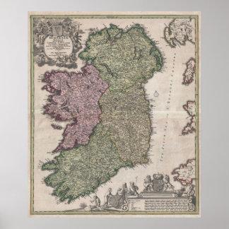 Mapa del vintage de Irlanda (1716) Póster