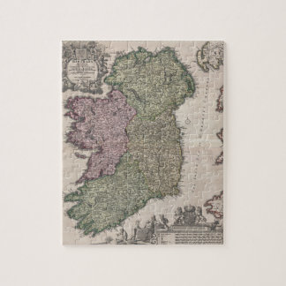 Mapa del vintage de Irlanda (1716) Puzzles