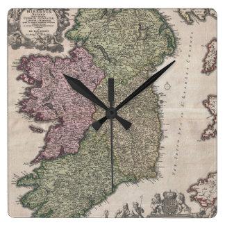Mapa del vintage de Irlanda (1716) Reloj Cuadrado