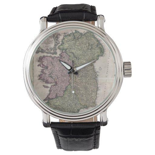 Mapa del vintage de Irlanda (1716) Relojes De Mano