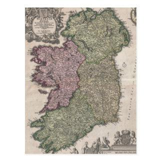 Mapa del vintage de Irlanda 1716 Postal