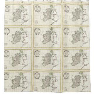 Mapa del vintage de Irlanda (1771) Cortina De Baño