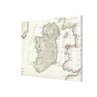 Mapa del vintage de Irlanda (1771) Impresión En Tela