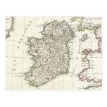 Mapa del vintage de Irlanda (1771) Postales