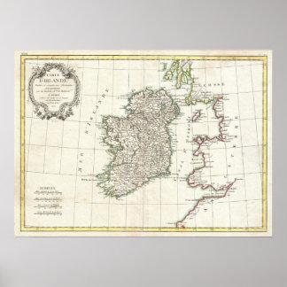 Mapa del vintage de Irlanda (1771) Póster