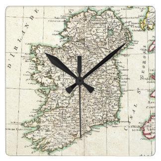 Mapa del vintage de Irlanda (1771) Reloj Cuadrado