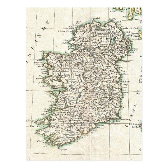 Mapa del vintage de Irlanda (1771) Tarjetas Postales