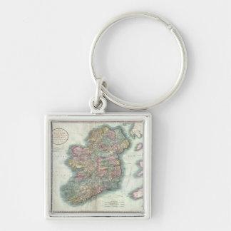 Mapa del vintage de Irlanda (1799) Llavero Cuadrado Plateado