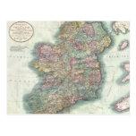 Mapa del vintage de Irlanda (1799) Postales