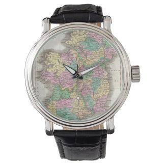 Mapa del vintage de Irlanda (1827) Relojes
