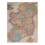 Mapa del vintage de Irlanda (1835) Postal