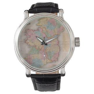 Mapa del vintage de Irlanda (1835) Relojes De Mano