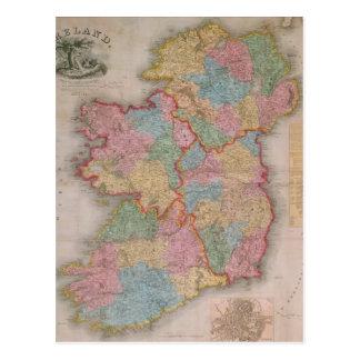 Mapa del vintage de Irlanda (1835) Tarjetas Postales