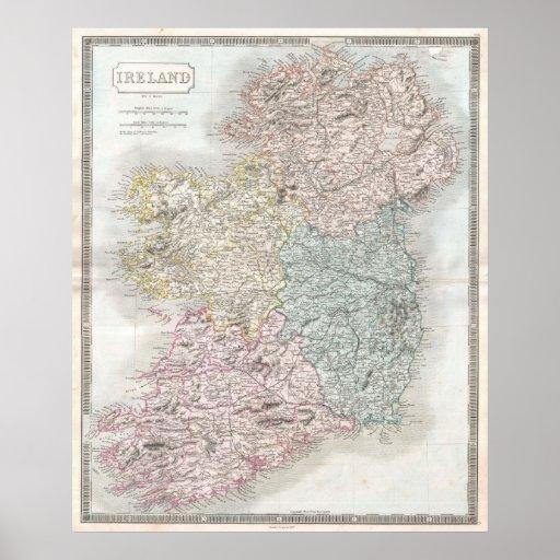 Mapa del vintage de Irlanda (1850) Póster