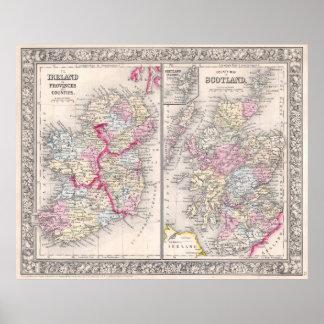 Mapa del vintage de Irlanda y de Escocia (1864) Póster
