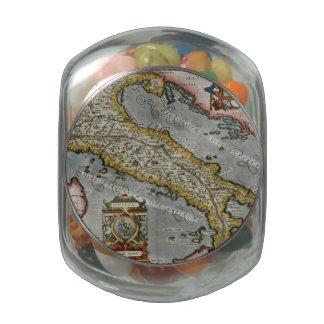 Mapa del vintage de Italia (1584) Jarras De Cristal